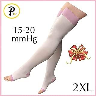Presadee Women's Overnight Thigh High 15-20 mmHg Compression Slimming Plus Size Wide Big Leg Legging Open Toe Purple Stocking (2XL)