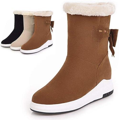 ZHRUI Stiefel para damen - Stiefel para la Nieve Calientes Antideslizantes de Invierno Stiefel de algodón de Tubo Corto con Aumento de Fondo Grueso 34-43 (Farbe   braun, tamaño   43)