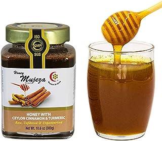 Mujeza Raw Wildflower Honey with Ceylon Cinnamon & Turmeric - Natural Liquid Honey - Gluten Free Honey - Non GMO - Unheate...