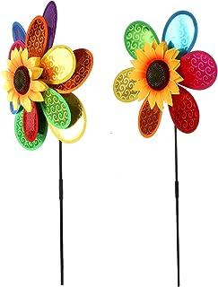 WINOMO 2 adet Ayçiçeği Fırıldak Renkli Parti Fırılları DIY Çim Değirmeni Karnaval Oyuncağı Bahçe ve Parti için