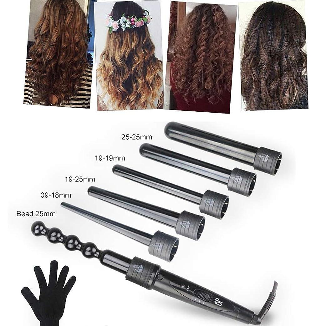 急流乳白識字ヘアカーラー - 6で1カーリングアイロンセット、6髪交換カーラーセラミックバレ 耐熱手袋が付 ル用すべての髪