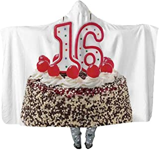 YOLIYANA 16th Birthday Decorations Comfortable Wearable Hooded Blanket,Delicious Cake with Burning Candle and Cherry Yummy Dessert Image for Playing Games,59