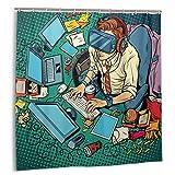 Cortina de Ducha, Gamer It Geek Trabajando en computadoras Realidad Virtual Pop Retro Hacker Cyber Specialist Trabajo Set de Cortinas de baño con Ganchos