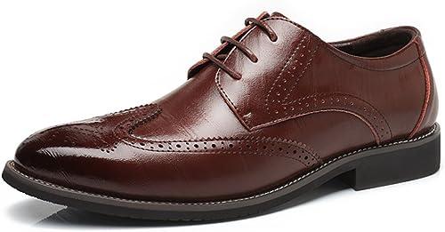 XHD-Chaussures Hommes Simples en Cuir véritable Brogue Chaussures Wingtip Creux Sculpture Dentelle à Lacets Bloc Talon Affaires Oxfords (Couleur   Marron, Taille   47 EU)