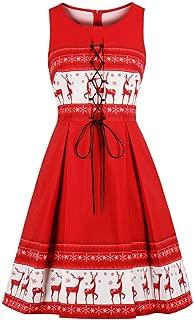 iLXHD Women Vintage Party Dress Red Swing Dress Cap Neck Drawstring Design
