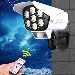 Simulation Camera Solar Powered Sensor Light 77 LED Street Spotlight Solar Lamp Outdoor Garden Light Wall Lamp Fake Camera...