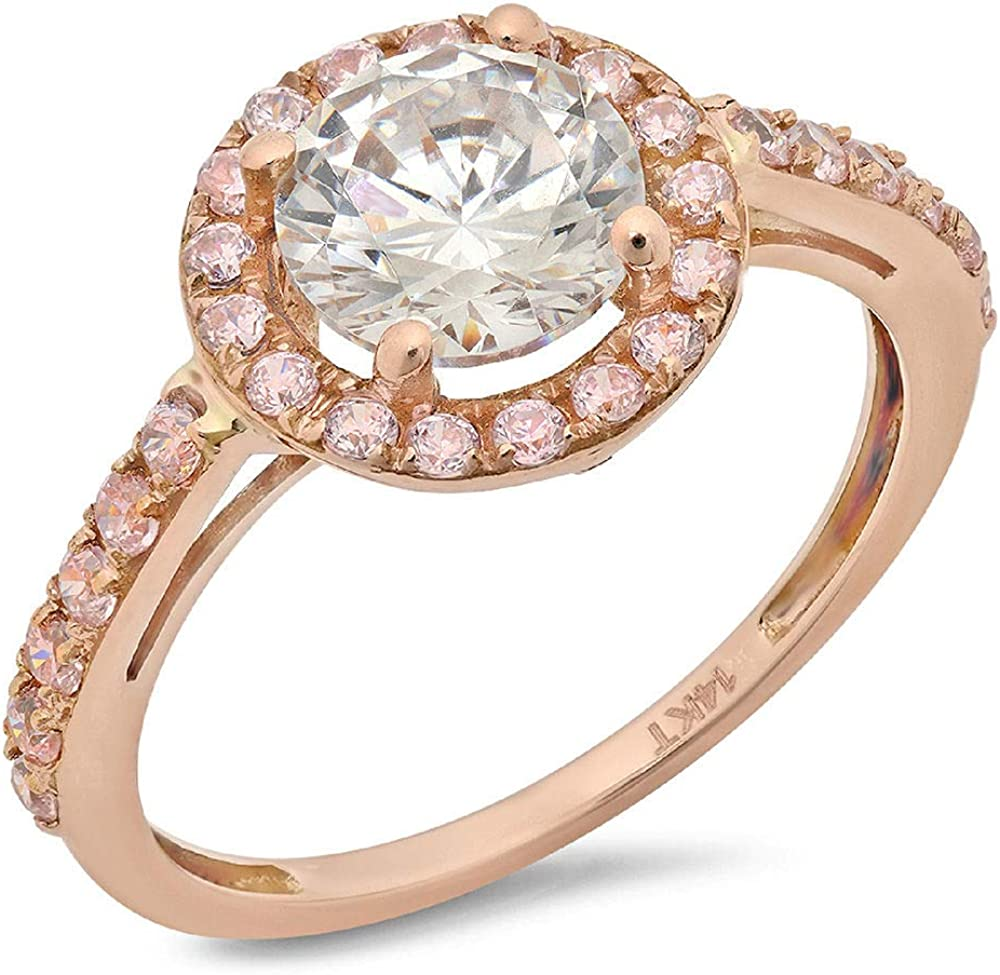Clara Pucci 2.55 Ct Round Cut Solitaire Pave Bridal Promise Engagement Bridal Anniversary Band Ring Halo 14K Rose Gold