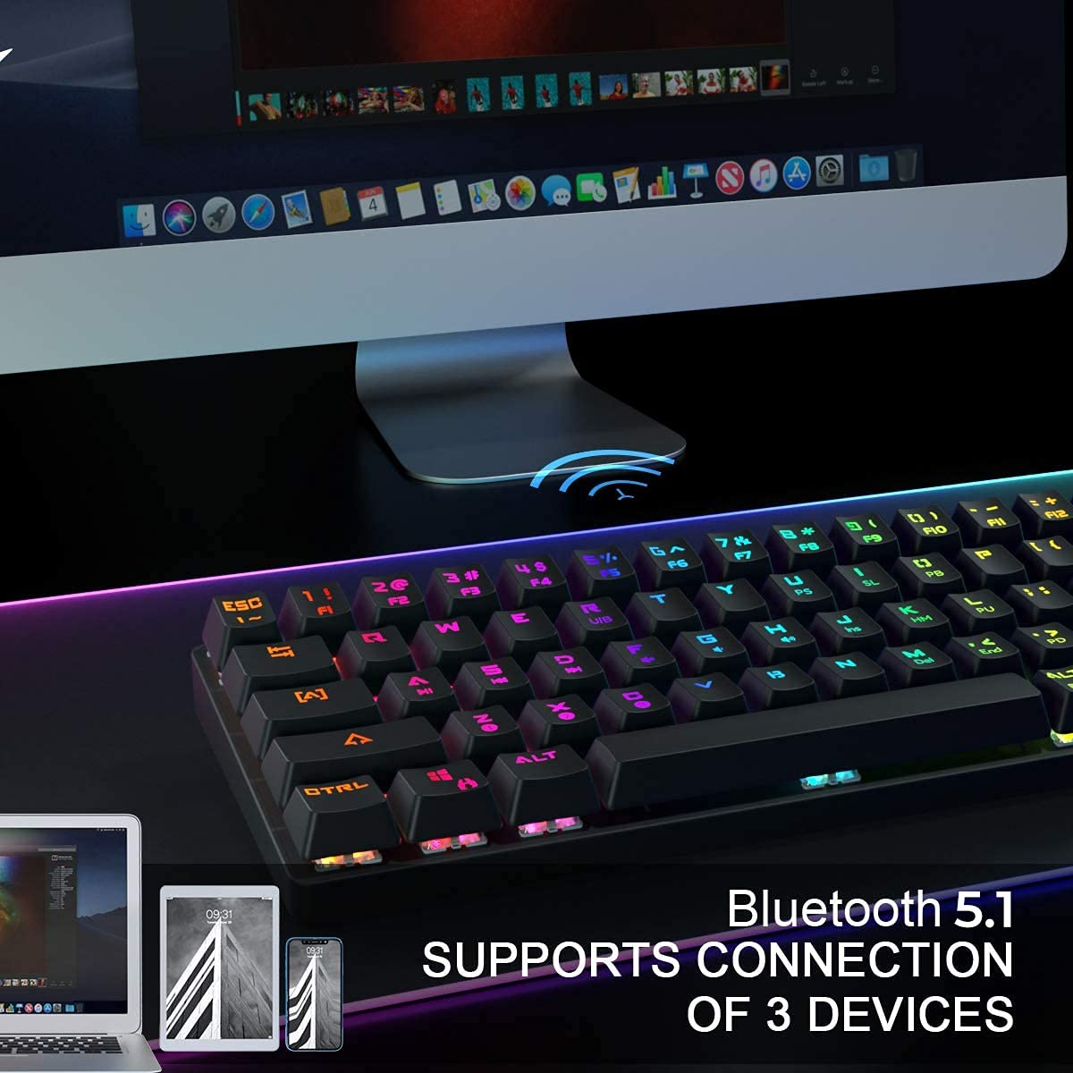 DIERYA DK63 60% Keyboard with Dedicated Arrow Keys, Wireless Wired Mechanical Gaming Computer Keyboard True RGB LED Backlit Bluetooth 5.1 Programmable, N-Key Rollover for Windows and Mac- Blue Switch