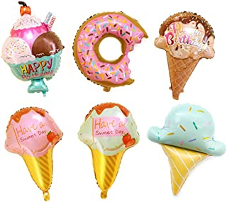 Kawaii Ice Cream Doughnut Food Balloon Kids Party Decor Balloon Pack of 6