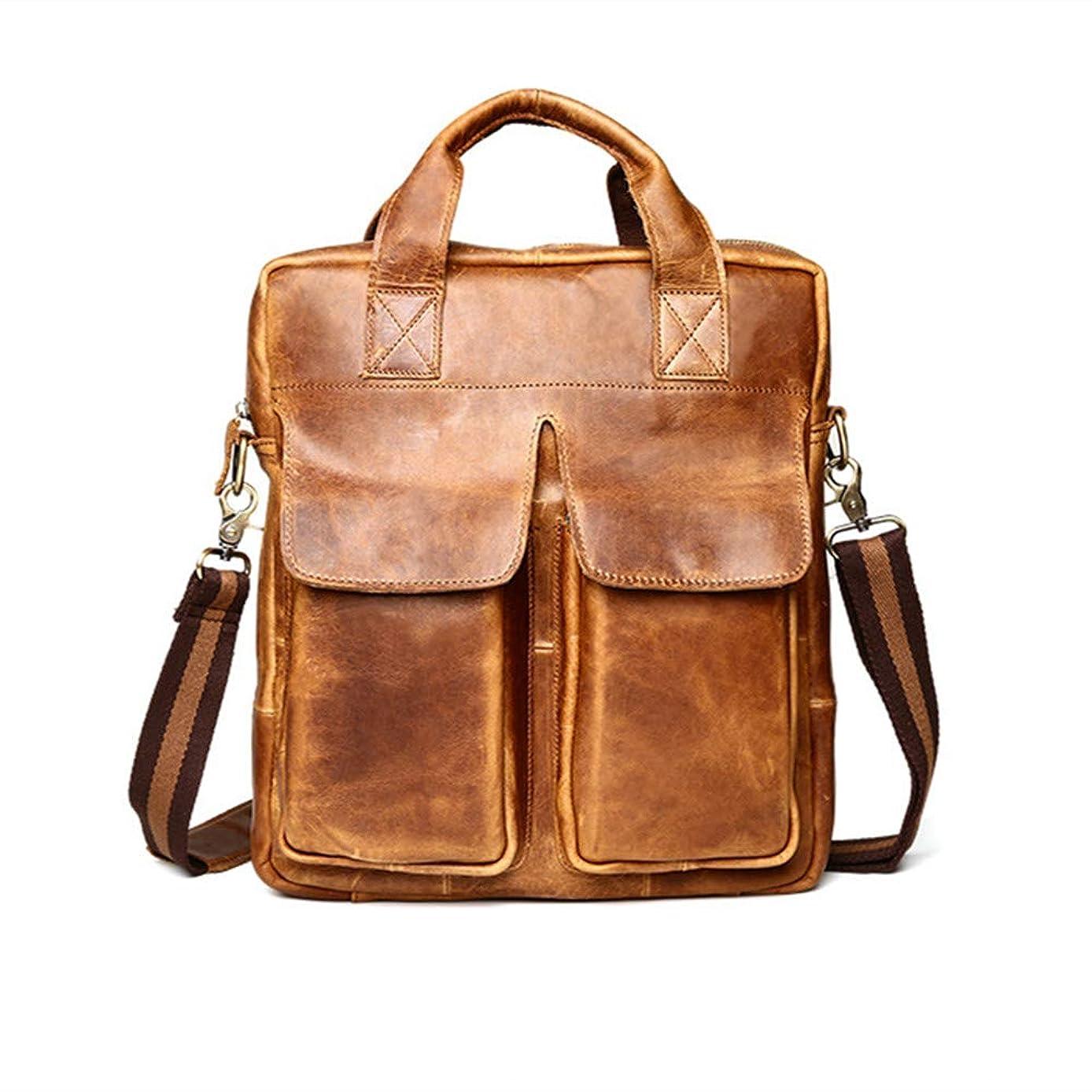 Expandable Large Hybrid Shoulder Bag Mens Crazy-Horse Leather Laptop Bag, Travel Briefcase Carry on Handle, Large Shoulder Bag Waterproof Business Messenger Briefcases for Men Crossbody bag Fits 14 13