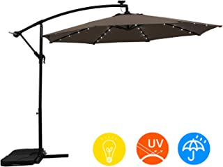 AI-LIN 10Ft Led Lighted Hanging Offset Umbrella Outdoor Cantilever Market Umbrella with Crank, 8 Ribs (Taupe)