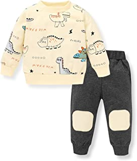 Toddler Baby Boys Girls Clothes Hoodie Outfit Dinosaur Sweatshirt +Long Pants Clothes Set Kids