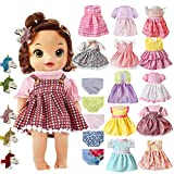 22 Pcs Girl Doll Clothes and Accessories For Alive Baby Doll Bitty Baby American Girls Doll Fits 13 14 15 16 Inch Girl Dolls Include 12 Dress 5 Underwear 5 Doll Unicorn Hairpin Girls Gift (22pcs)