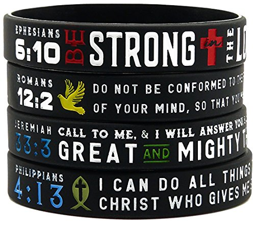 'Power of Faith' Bible Verse Wristbands - Set of 4 Silicone Bracelets with Christian Symbols and Scriptures - Religious Jewelry Gifts for Men Women Teens