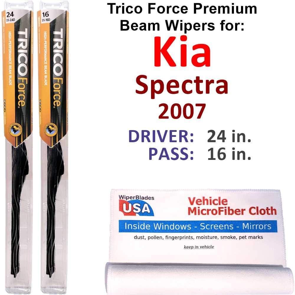 Premium Beam Wiper Blades for 2007 爆安 Kia B Set Force Spectra Trico 激安格安割引情報満載
