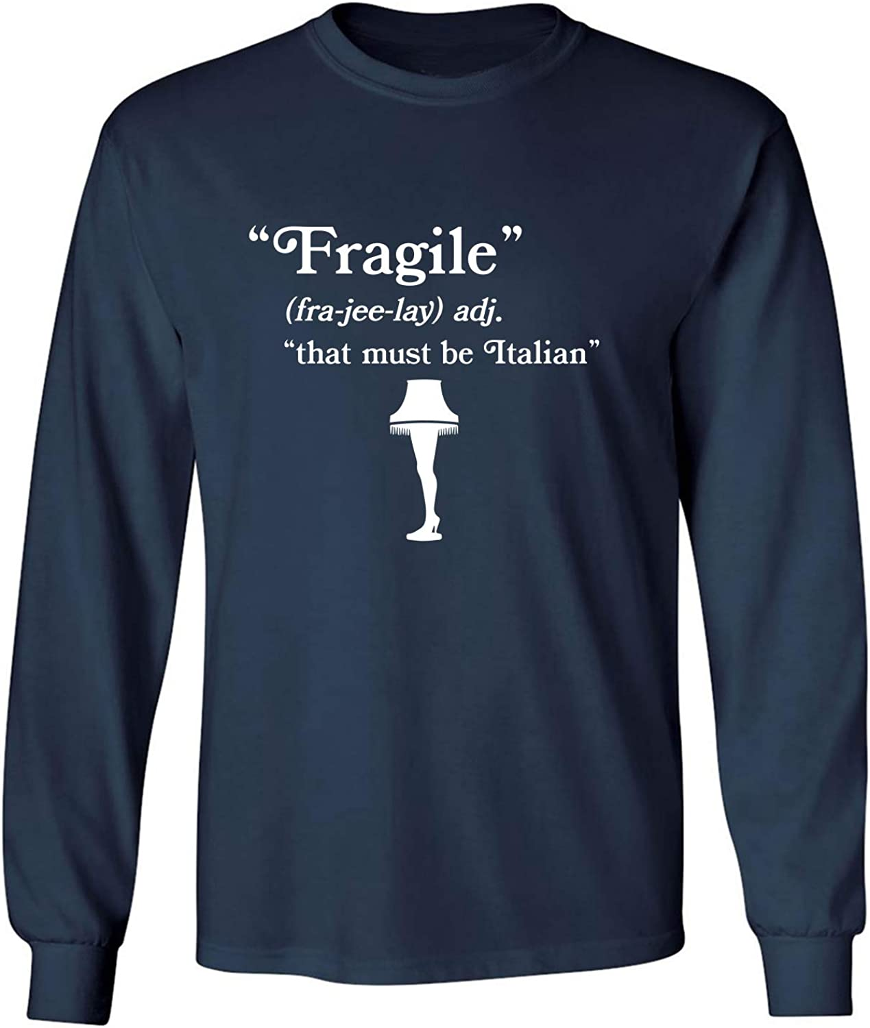 Fragile That Must Be Italian Adult Long Sleeve T-Shirt in Navy - XXXXX-Large