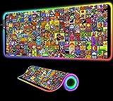 Juego de Personajes de Dibujos Animados RGB Alfombrilla de ratón para Juegos Accesorios de computadora LED Grandes con luz de Fondo Alfombra para Teclado Alfombrilla de Escritorio, 900x400x4 mm