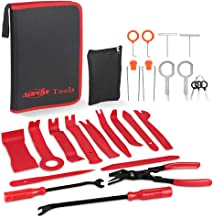 ADPOW 25PCS Car Trim Removal Tools Kit and Car Audio Removal Keys for Car Dash Door Window Molding Upholstery Marine Fastener Removal Installer and Repair Nylon Pry Tool Kits with Durable Storage Bag