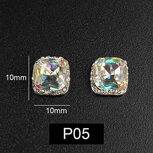 Nouveau luxe 3D ongles strass alliage d'argent mosaïque cristal 26 style AB couleur 10pcs30pcs pour bricolage ornements d'ongles, p03,30Pcs