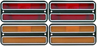 United Pacific (4) 1968-1972 Chevy Truck Side Marker Light Housings Set, Red Amber