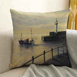 FreeKite Lighthouse Decor Pillowcase Hug Pillowcase Cushion Pillow Fishing Boat Leaving The Port in Mevagissey at Early Morning Sunrise Landscape Anti-Wrinkle Fading Anti-fouling W20 x L20 Inch