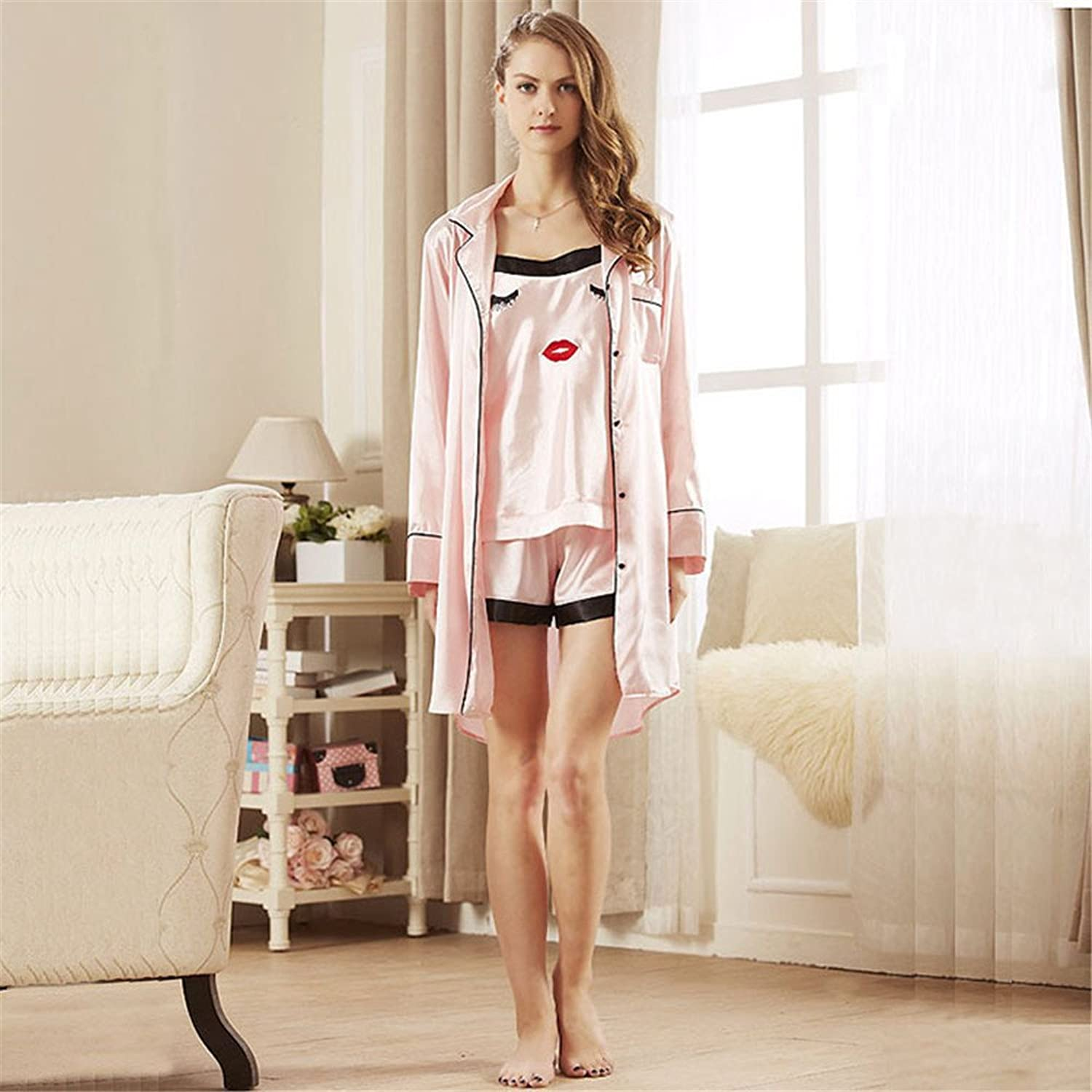 MHRITA The New 3 Sets of Japanese Clothing Home Furnishing Nightdress,Pink,L