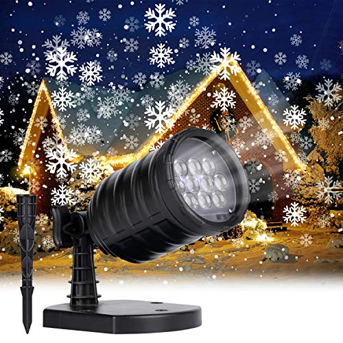 Minetom Snowfall Christmas Lights Projector Outdoor LED Waterproof Rotating Snowflake Landscape Lighting for Halloween Xmas Holiday Indoor Home Party New Year Decoration Show, White