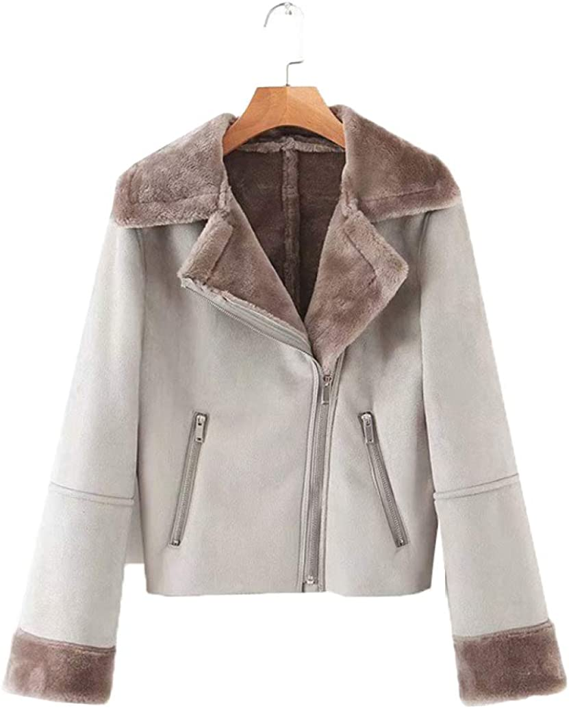 LUCACO Women's Open Front Lapel Zipper Faux Fur Sherpa Jacket Fuzzy Coat