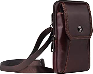 Men Leather Crossbody Purse Belt Holster Wallet Case for iPhone Pro 11 Max XS Max 8 Plus XR XS, LG V50 V40 G8 G7 ThinQ Sty...