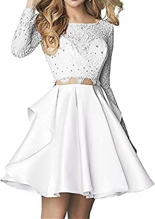 Ellenhouse Women's 2019 Two Pieces Long Sleeve Short Prom Homecoming Dresses