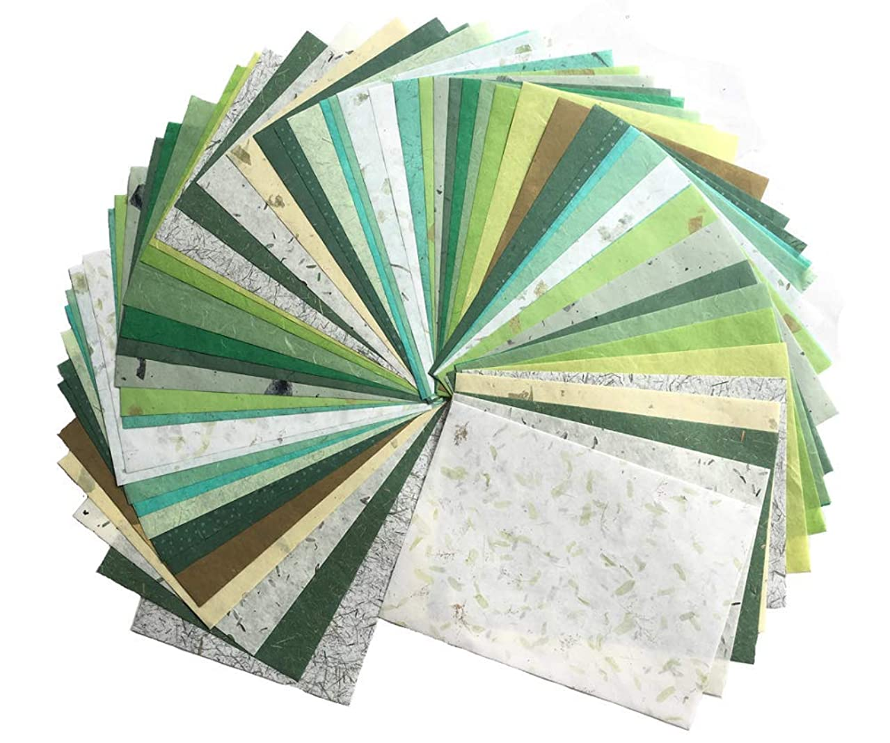 WADSUWAN SHOP 60 Sheets Mixed Green A4 Mulberry Paper Sheet Design Craft Hand Made Art Tissue Japan Origami Washi Wholesale Bulk Sale Unryu Suppliers Thailand Products Card Making
