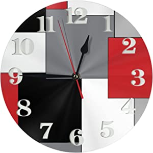 White,Grey,Black and Red Irregular Geometric Wall Clock Decorative Clocks Durable Round Wall Clock Lightweight Clock with Roman Numeral Hands for Living Room Classroom Patio Bedroom(12 Inch)