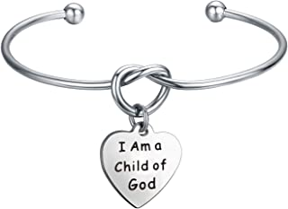 MAOFAED Baptism Gift First Communion Gift I Am a Child of God Religious Jewelry Bracelet