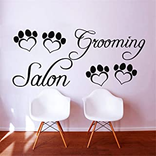 Qquende Room Wall Stickers Quotes Dctal Grooming Salon Pet Salon Paw Quote Grooming Salon Pet Shop Decorative Decoration for Living Room