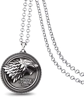 Game Of Thrones House Of Stark Sigil Direwolf WINTER IS COMING Necklace. Silver