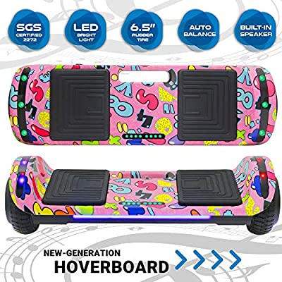 Newest Design Generation Electric Hoverboard Self-Balancing Dual Motors Two Wheels Hoover Board Smart Self Balancing Scooter with Built in Speaker LED Lights Adults Kids Gift (Image 4)
