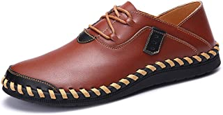 AiHua Huang Casual Oxford for Men Fashion Loafers Lace Up Comfortable Slip On Flats Shoes Stitch Leather Upper Round Toe Abrasion Resistant (Color : Brown, Size : 8 UK)