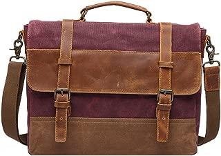 Men's Accessories Men's Messenger Bag Waterproof Canvas Crazy Horse Leather Computer Laptop Bag 14 Inch Briefcase Case Vintage Shoulder Bag College Outdoor Recreation (Color : Purple)