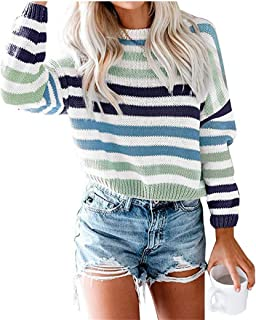 aubohuc Womens Long Sleeve Striped Knit Color Block Oversized Fleece Sweater Casual Crew Neck Pullover Jumper Tops