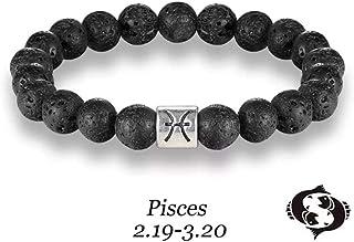 Pisces Zodiac Signs Beads Bracelets Colorful Lava Stone Beads Bracelet (Black)