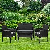 Olsen & Smith 4 Piece <span class='highlight'>Rattan</span> Effect Outdoor Garden Patio Furniture Set - Love Seat Sofa   2 Chairs   Table Black Anthracite