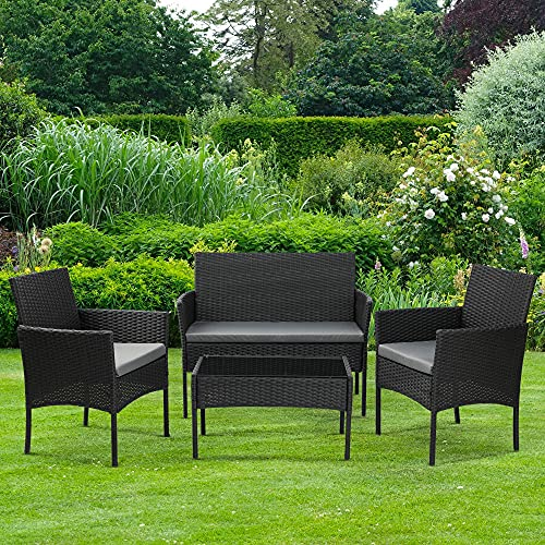 Olsen & Smith 4 Piece Rattan Effect Outdoor Garden Patio Furniture Set - Love Seat Sofa + 2 Chairs + Table Black Anthracite
