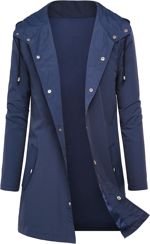 DOSWODE Men Waterproof Raincoat Hooded Windbreaker Lightweight Long Rain Jacket Active Outdoor Trench