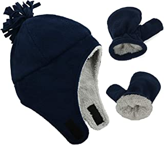 Baby Lined Fleece Fuzzy Hats Thicken Pilot Hat Ear Wrapped with Mitten to Keep Warm