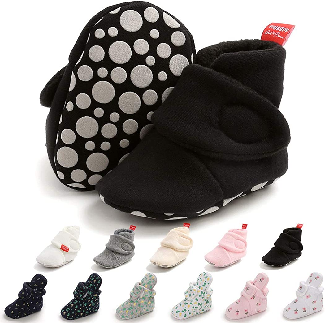 Baby Boy Girl Fleece Booties Cotton Newborn Socks Soft Sole Winter Warm Stay On Baby Slippers Non-Skid Cozy Crib Shoes
