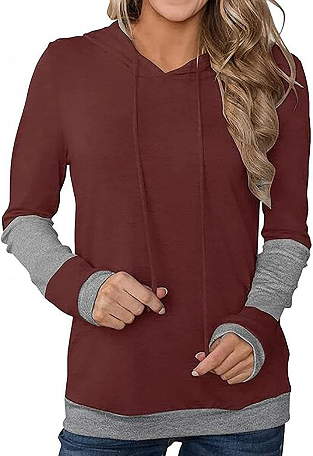 Womens Color Block Hoodie Sweatshirts Autumn Loose Solid Tunic Pullover Tops Long Sleeve Drawstring Shirts