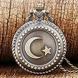 J-Love Reloj de Bolsillo Antiguo de Cuarzo con diseño de Bandera de Turquía con diseño de Luna y Estrella para Hombres y Mujeres