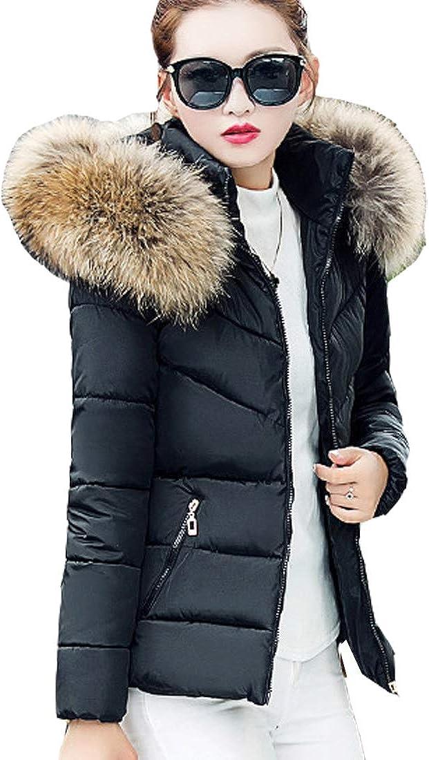S&S-women Winter Jacket Warm Cotton-Padded Coat Faux Fur Hooded Parka Outerwear