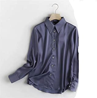 Office Lady Multicolor Fashion Silk Casual Blouse Women Long Sleeve Shirt Tops (Color : Blue, Size : Medium)