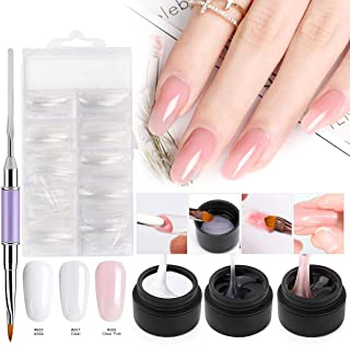 Builder Gel Nail Art Kit, Saviland 3 Colors Poly Gel Finger Extension Set With False Nail Tips Brush(Clear Pink White)